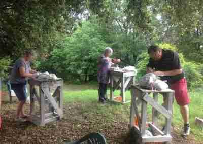Groep beeldhouwvakantie Hester Glasbergen
